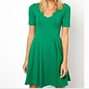ASOS Green Scalloped Skater Dress Size 6